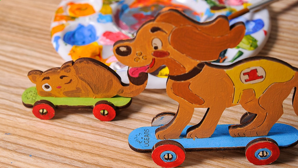 3D coloring model «Kitty and Puppy»