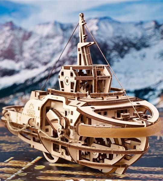 Ugears Tugboat  Monowheel mechanical model kit