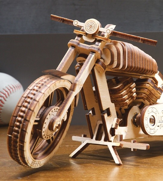 Ugears mechanical model kit Bike VM-02 and wooden 3D puzzle. Self-propelled motorbike and motorcycle for self-assembly. Original gift for boys and girls and smart hobby for grown-ups.