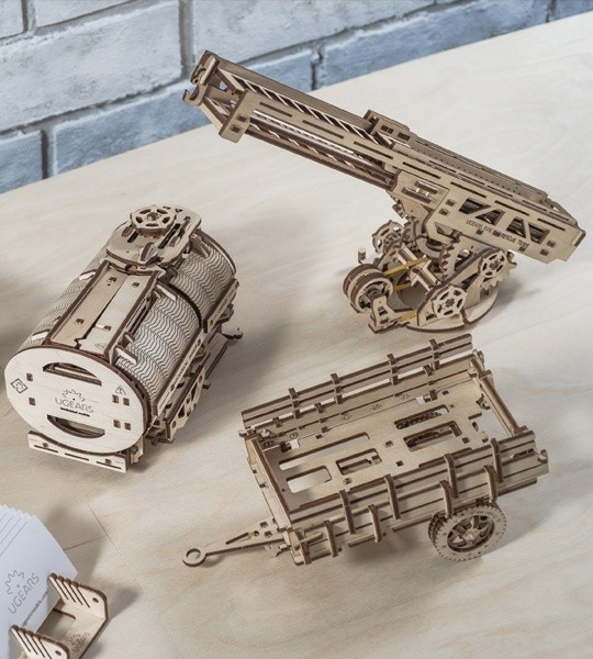 """Ugears mechanical model kit Set of Additions to the model """"Truck UGM-11 and wooden 3D puzzle. Tanker, Fire Ladder und chassis. Original gift for boys and girls and smart hobby for grown-ups."""