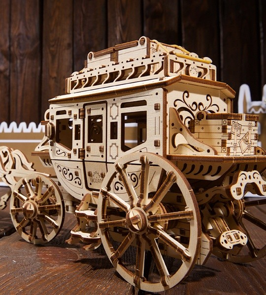 Ugears mechanical model kit Stagecoach and wooden 3D puzzle. Construction set and self-propelled carriage with West World spirit. Original gift for boys and girls and smart hobby for grown-ups.