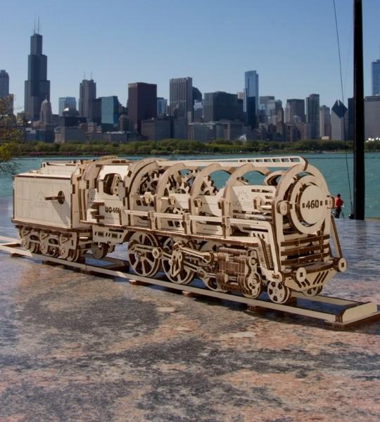 Ugears modelo mecánico de locomotora con Tender y rompecabezas de madera en 3D. Modelo de construcción autopropulsada kit de tren y parte de ferrocarril. Regalo original para niños y niñas y afición inteligente para adultos.