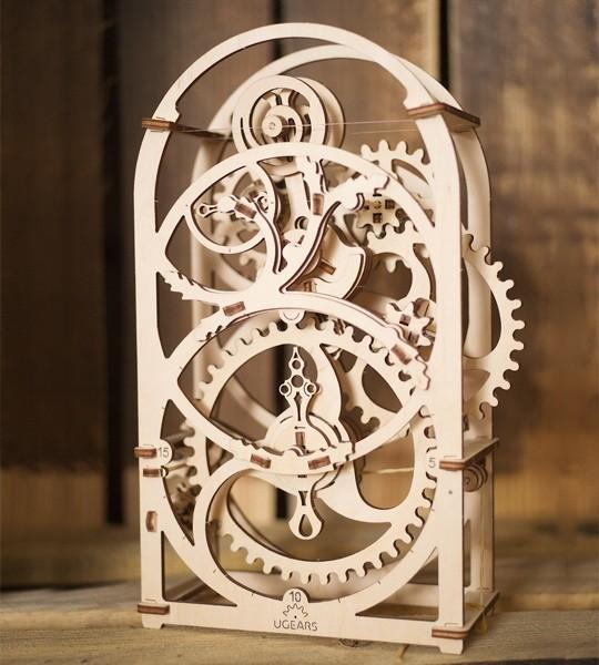 Ugears mecánico modelo kit cronómetro temporizador por 20 minutos y rompecabezas de madera 3D. Kit de construcción de reloj autopropulsado con mecanismo de péndulo. Regalo original para niños y niñas y afición inteligente para adultos.