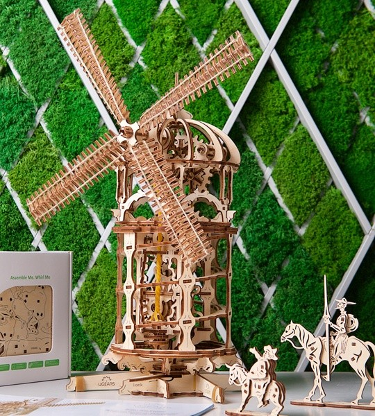 Ugears mechanical model kit Tower Windmill and wooden 3D puzzle for self-assembly. Model of steampunk windmill  with screw conveyor and full-fledged chain drive. Original gift for boys and girls and smart hobby for grown-ups.