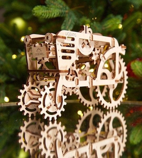 Ugears mechanical model kit Tractor and wooden 3D puzzle. Self-propelled construction kit from the series of Vintage Farm tractors and harvesters. Original gift for boys and girls and smart hobby for grown-ups.