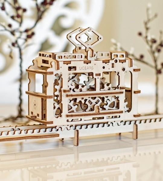 Ugears modelo mecánico kit tranvía con rieles y rompecabezas de madera 3D. Kit de construcción y modelo de tranvía y funicular. Regalo original para niños y niñas y afición inteligente para adultos.