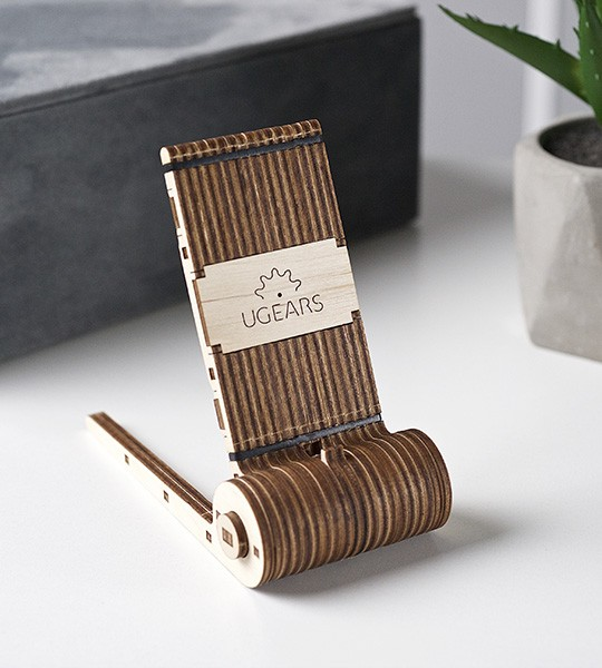 Ugears wooden mechanical 3D puzzle Foldable Phone Holder