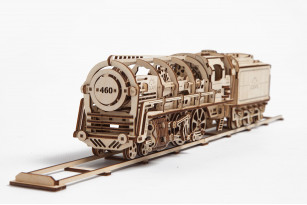 Steam Locomotive with Tender mechanical model kit