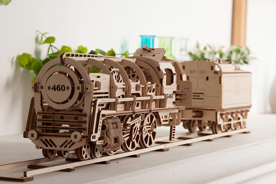 Wooden puzzle «Locomotive with tender»