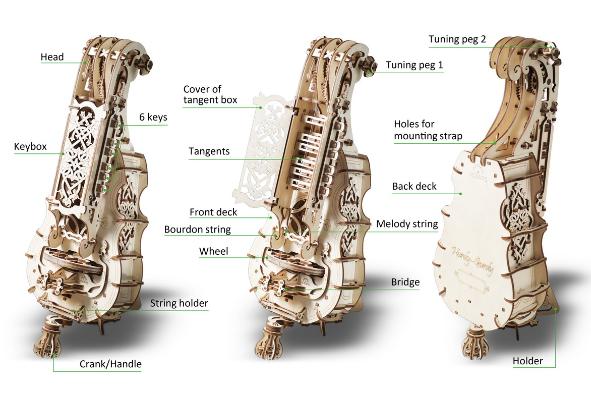 How works Hurdy-Gurdy from UGEARS