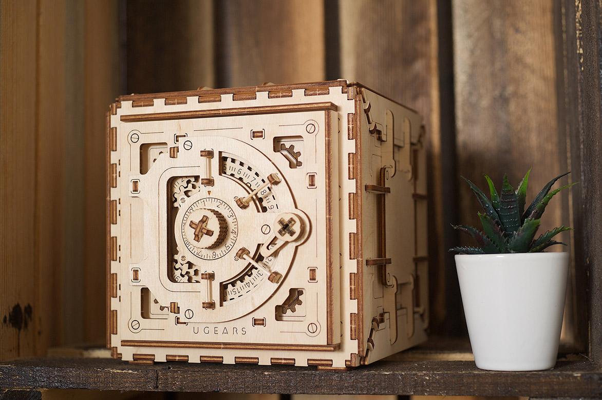 Ugears wooden mechanical DIY 3D puzzle Safe