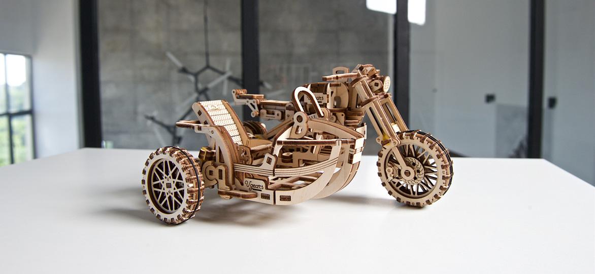 Ugears wooden mechanical DIY 3D puzzle Scrambler UGR-10 motorbike with sidecar