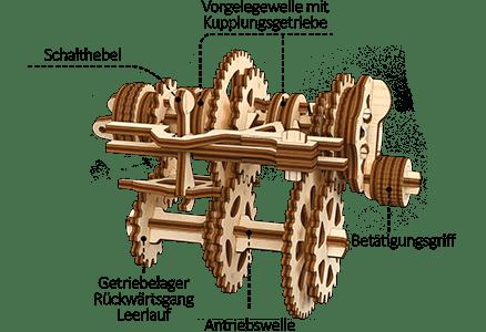 Mechanismus des 3D holzpuzzle «Differenzialgetriebe»